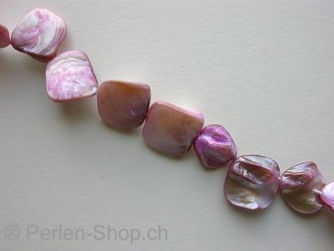 Shell parts, rose, ±15/23mm, string ± 22 pc.