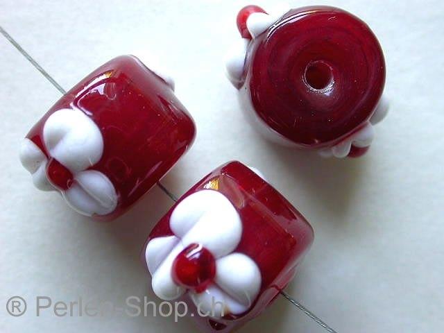 perlen lampen perlen zylinder rot mit weiss ca 12mm 1 stk. Black Bedroom Furniture Sets. Home Design Ideas