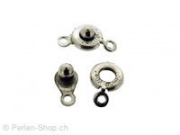 Button clasp, Color: platinum color, Size: ±8mm, Qty: 1 pc.