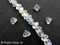 Triangular Facet-Polished glassbeads, Color: crystal, Size: ±4x6mm, Qty: ±30 pc.