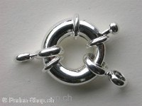 Clasp round with Ring, 15mm, silver color, 1 pc.