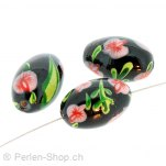 Glass Bead mit Red, Color: Black, Size: 18 mm, Qty: 2 pc.