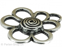 Metal flower gross, Color:  silver, Size: ±40mm, Qty: 1 pc.