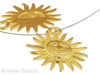 Metal sun, Color: gold, Size: ±30mm, Qty: 1 pc.