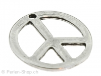Metal pendant Peace, Color: antique silver, Size: ±28mm, Qty: 1 pc.