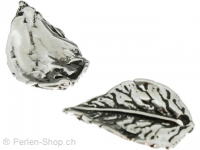 Metal leaf, Color: antique silver, Size: ±23mm, Qty: 1 pc.