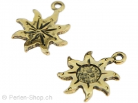 Metal sun, Color: gold, Size: ±19mm, Qty: 1 pc.