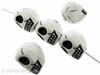 CRAZY DEAL Skull Bead, Color: weiss, Size: ±17x14mm, Qty: 5 pc.